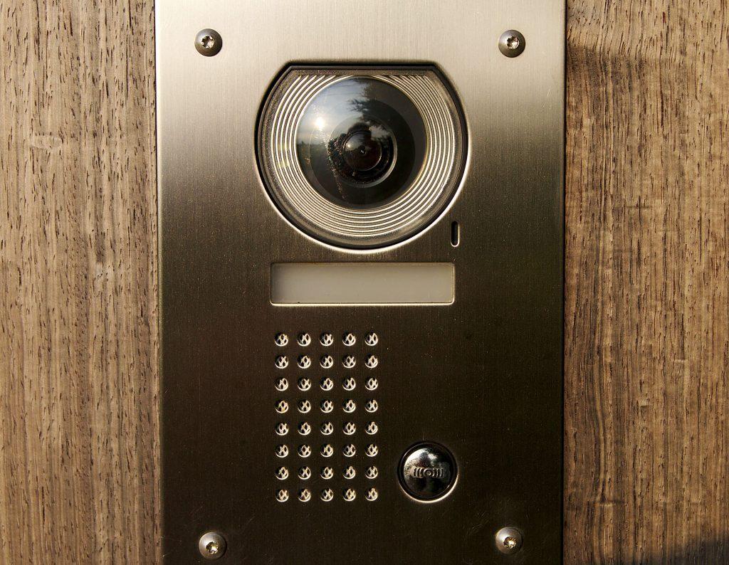 Intercom on wooden frontdoor