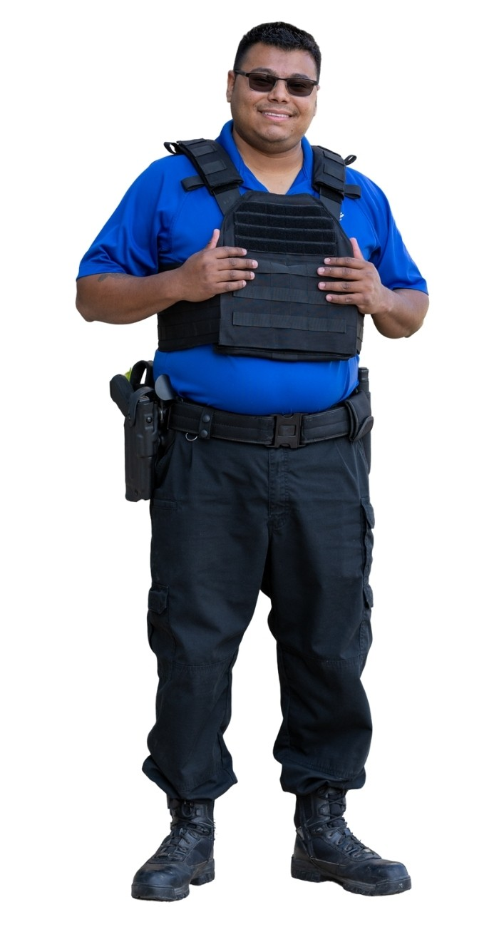 BPS Security firm guard with a smile