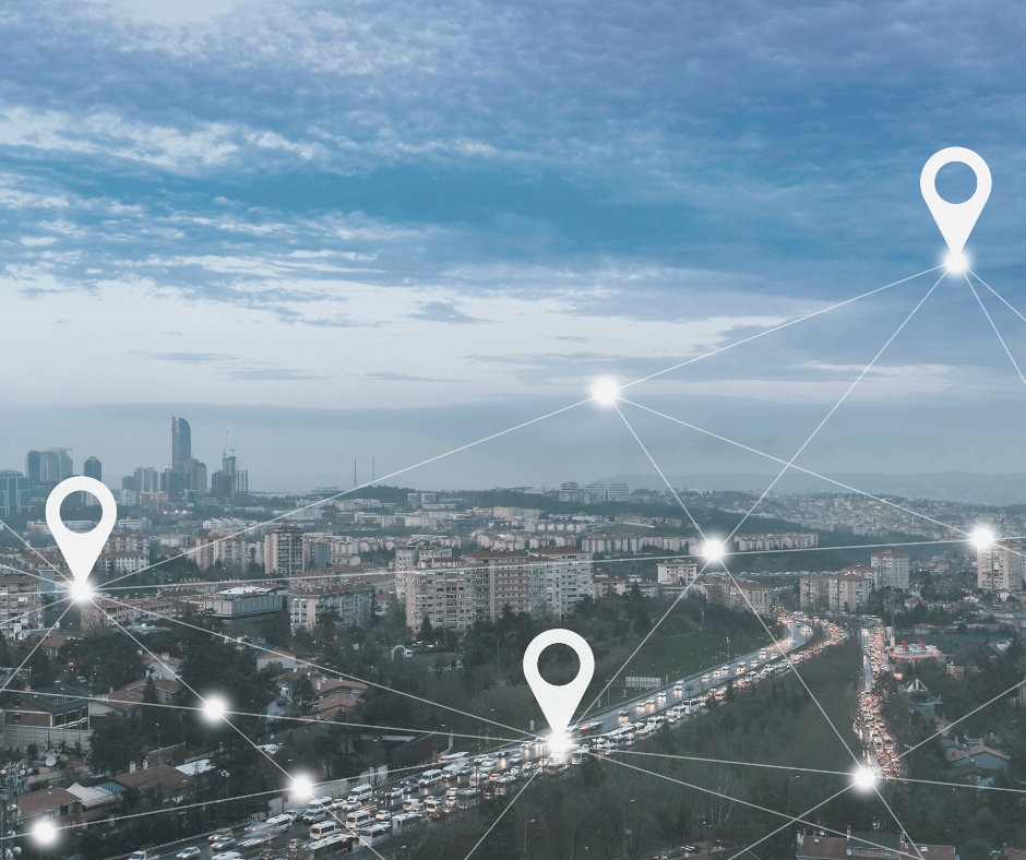 Image of City with Pin Points showcasing location of people via GPS