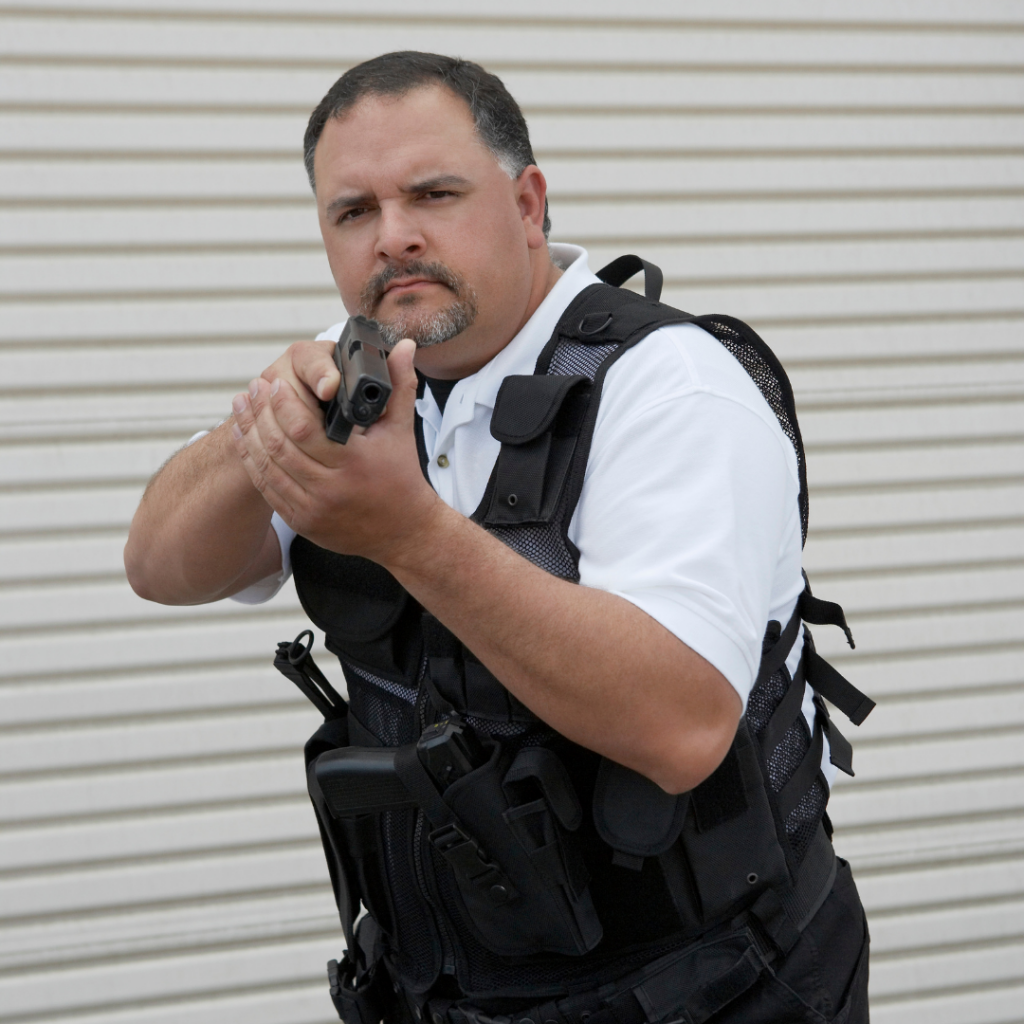 Armed Security Guard with Gun Pulled