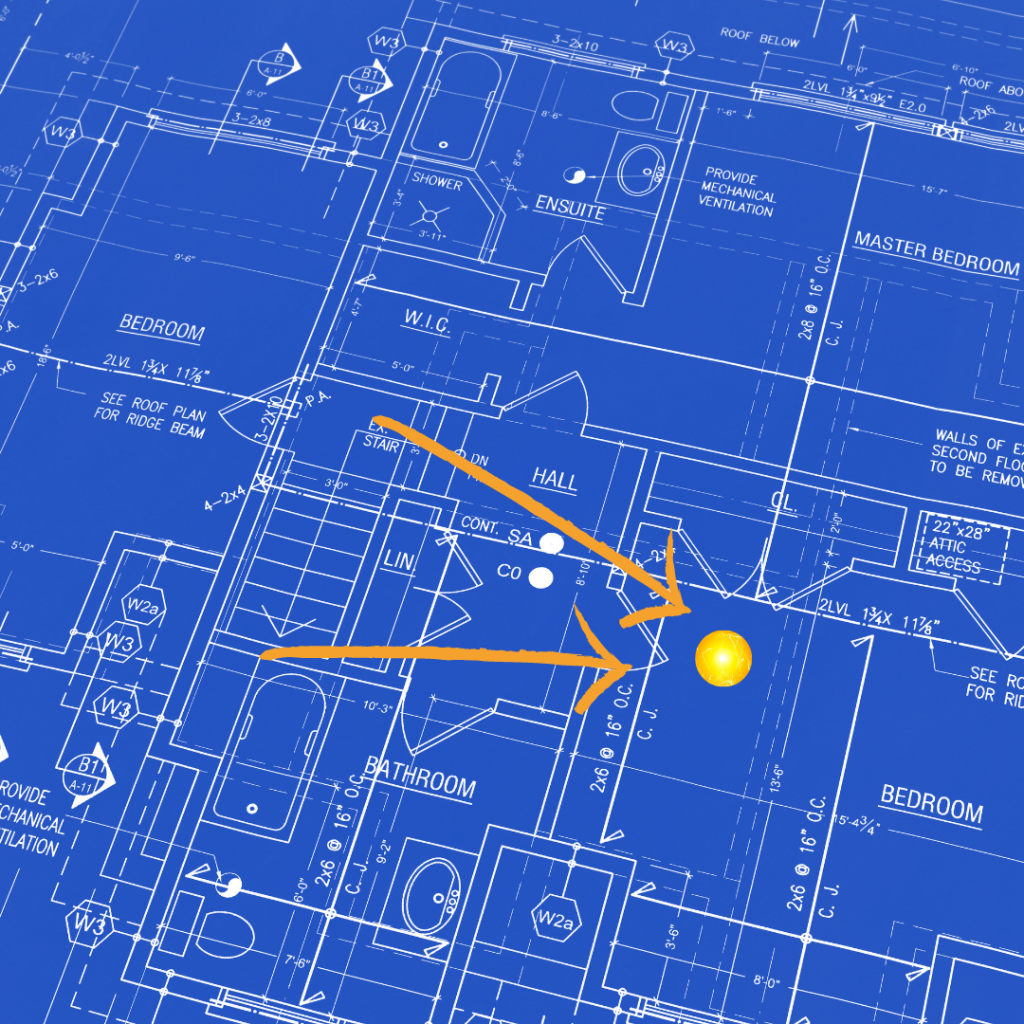 Blueprint of a building with GPS coordinates that show if a security guard is doing what they are hired to do